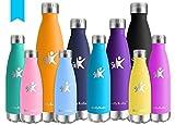 KollyKolla Botella de Agua Acero Inoxidable - 350ml/500ml/650ml/750ml, Termo Sin BPA Ecológica, Botellas Termica Reutilizable Frascos Térmicos para Niños, Deporte, Oficina, Yoga, Gimnasio, Ciclismo