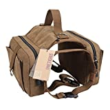 OneTigris - Lona de algodón para mascota, para exterior, ideal para viajes/camping/senderismo/bolsa para sillín de bicicleta, para perros medianos y grandes, Dog Saddle Bag, marrón