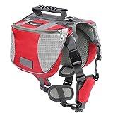 Pawaboo Mochila del Perro - Adjustable Bolsa de Sillín Portador para Mascota Pet Saddle Bag para Viajar / Senderismo / Camping, Talla Mediana, Rojo & Gris