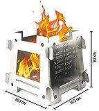 JEO-TEC Hornillo Portátil Plegable - Ligero de Acero Inoxidable para el Senderismo Trekking Cámping Picnic Outdoor Cocina Barbacoa y Actividades Al Aire Libre - Fabricado en España