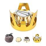 ShineTool Mini Quemador de Alcohol, Aleación de Aluminio Portátil Latón Hornillo, Estufa de Alcohol para Camping al Aire Libre, Senderismo, Mochilero