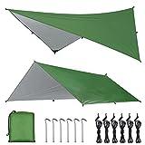 OTraki Toldo Camping Impermeable 3M×4M Rain Tarp UV Protección Lona para Acampar con Accesorios Portátil Toldo para Hamaca Furgoneta Playa Vivac Exterior