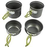 G4Free 2/4/13 PCS Kit de utensilios de cocina de camping senderismo mochilero Picnic Cocina Bowl antiadherente olla cuchillo cuchara Set (4PCS verde)