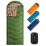 Forceatt Saco de Dormir Rectangular para Acampar, para 3-4 Estaciones, con Bolsa de compresión y Capucha para Viajes, Camping, Senderismo,215 x 80 cm, Temperatura Ideal 10-25°C