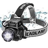 Ezfull Linterna Frontal LED USB Recargable, IP65 Impermeable Linterna de Cabeza Super Ligera 90°Ajustable, 4 Modos de Luz LED con Sensor para Acampada, Pescar, Senderismo, Lectura, Caza