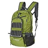 ECEEN senderismo mochila con cargador solar + 2000mAh recargable, 35L mochila resistente al agua Camping al aire libre viaje ciclismo bolsa de escuela de viaje Carry en unidades