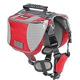 Pawaboo Mochila del Perro - Adjustable Bolsa de Sillín Portador para Mascota Pet Saddle Bag para Viajar/Senderismo/Camping, Talla Mediana, Rojo & Gris