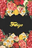 Fethiya: Lined Notebook / Journal with Personalized Name, & Monogram initial F on the Back Cover, Floral cover, Gift for Girls & Women