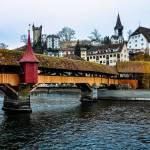 Spreuer Bridge and Reuss River in Switzerland