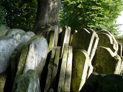 Gravestones around a tree, St Pancras Old Church