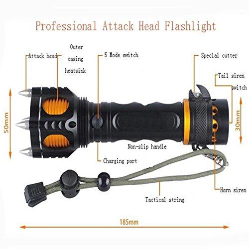 Ckeyin 35W 2000lm de LED Linterna con Alarma, antorcha zoom ajustable Focus lámpara de luz, 5 Modos (Alto / Medio / Bajo /Estroboscópico / SOS), para Actividades Externas, Ciclismo, Atletismo, Pesca, Escalada, Bicicleta de Montaña, Camping, Noche de Lectura 2