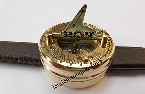 (Lot of 10) Antique Style Brass Leather Wrist Sundial Compss Best Gift for every one. C-3117P by London.Antiques.Store 2