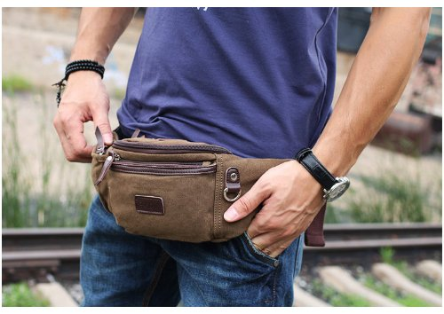 Eshow Men's Canvas Runners Fanny Pack, Brown Model: Eshow-BFY000011 1