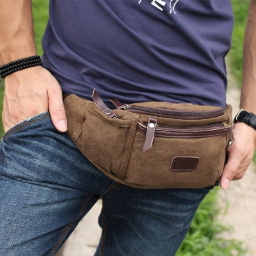 Eshow Men's Canvas Runners Fanny Pack, Brown Model: Eshow-BFY000011 2