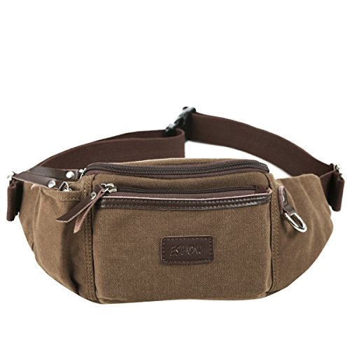 Eshow Men's Canvas Runners Fanny Pack, Brown Model: Eshow-BFY000011