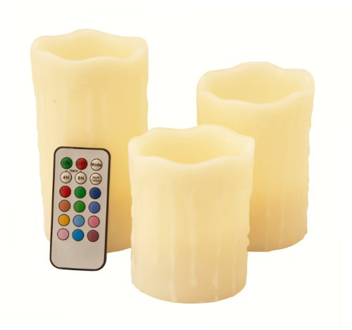Frostfire Mooncandles - Vanilla Scented Dripping Wax Color Changing Candles with Remote Control, 4-inch/ 5-inch/ 6-inch 9