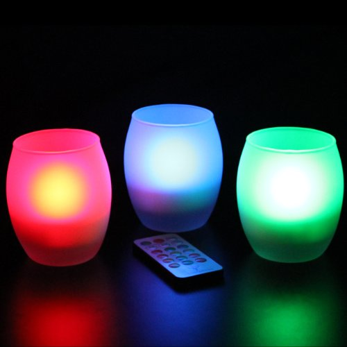 Frostfire Mooncandles Frosted Glass Color Changing Candles with Remote Control, Set of 3