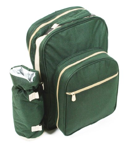 Greenfield Collection BP2DGH - Mochila de picnic para dos personas, color verde bosque 2