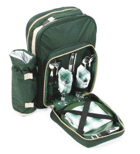 Greenfield Collection BP2DGH - Mochila de picnic para dos personas, color verde bosque 1