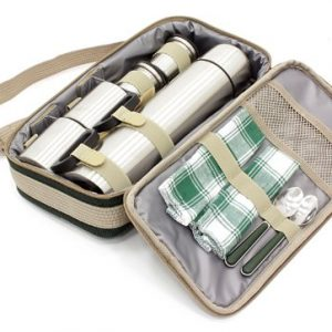 Greenfield Collection Luxury Flask Hamper Bag for 2-People, Forest Green 4