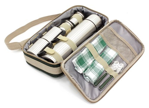 Greenfield Collection Luxury Flask Hamper Bag for 2-People, Forest Green 3
