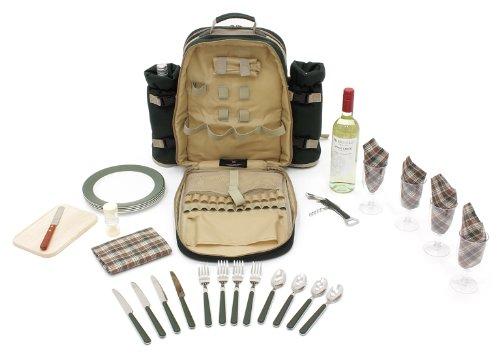 Greenfield Collection Luxury – Mochila con accesorios para picnic (para 4 personas), color verde