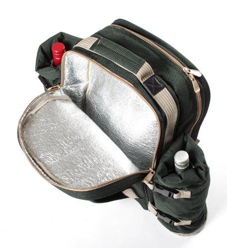 Greenfield Collection Luxury - Mochila con accesorios para picnic (para 4 personas), color verde 3