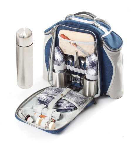 Greenfield Collection Super Deluxe – Mochila de picnic para dos personas, color azul marino