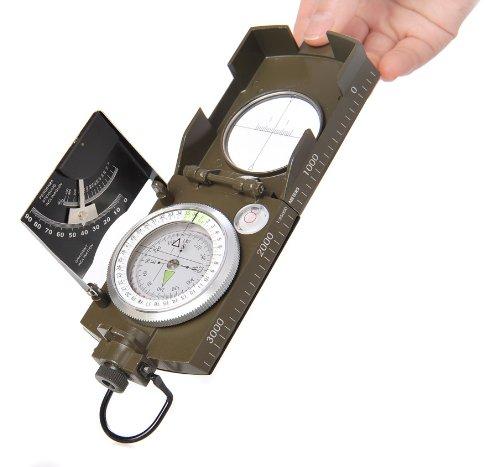 Huntington MG-XL: Brújula Militar Lensatic de primera calidad y con carcasa metálica de tamaño XL - Novedad: inclinómetro en grados y porcentaje, profesionalmente líquido-humedecida, verde militar, (K4074 DE) 1