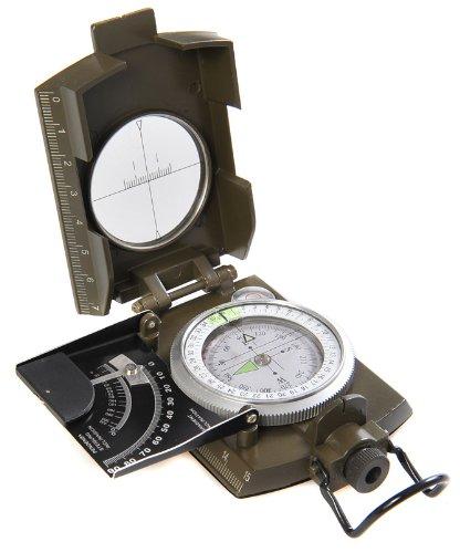 Huntington MG-XL: Brújula Militar Lensatic de primera calidad y con carcasa metálica de tamaño XL - Novedad: inclinómetro en grados y porcentaje, profesionalmente líquido-humedecida, verde militar, (K4074 DE) 11