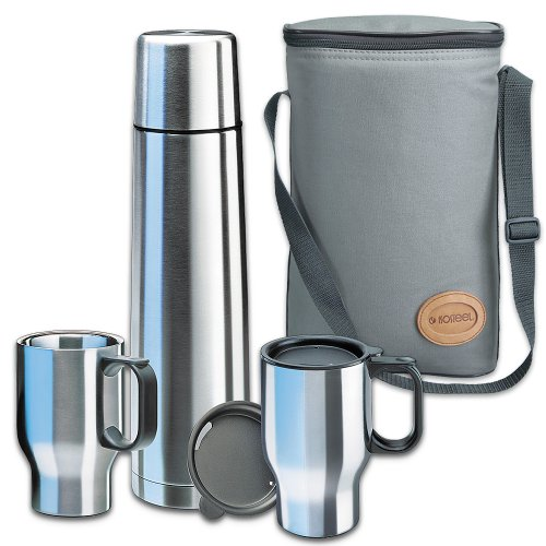 Isosteel VA-9600B Touring Set 1x 0.9 L Vacuum Flask 18/8 Stainless Steel with Quickstop Single-Handed Pouring... 5