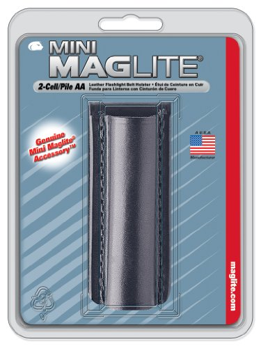 Maglite Black Plain Leather Holster for AA Cell Mini Flashlights 3