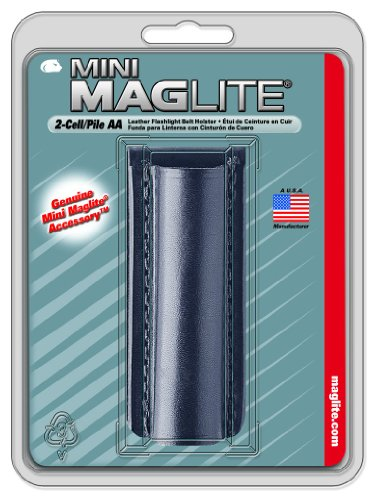 Maglite Black Plain Leather Holster for AA Cell Mini Flashlights 1