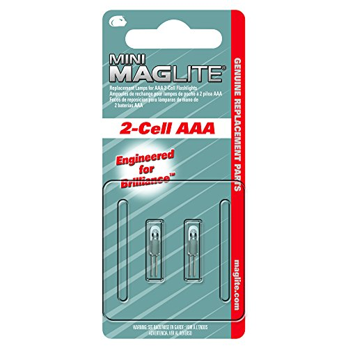Maglite Replacement Lamps for 2-Cell AAA Mini Flashlight, 2-Pack 2