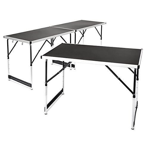 Relaxdays Multi-Purpose Aluminium Folding Tables Set Of 3 Adjustable Height Can be Combined into 3 m Table