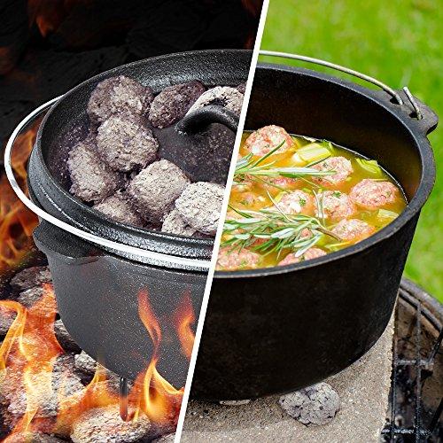TecTake® Conjunto batería de cocina para camping de hierro fundido 7 piezas 1