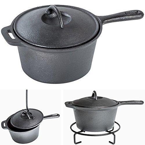 TecTake® Conjunto batería de cocina para camping de hierro fundido 7 piezas 2