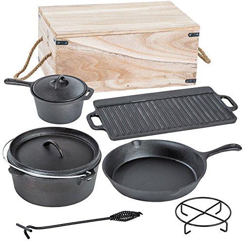 TecTake® Conjunto batería de cocina para camping de hierro fundido 7 piezas