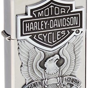 zippo Harley-Davidson Engraved Logo Lighter 1/2 - Mechero, color cromo cepillado 4