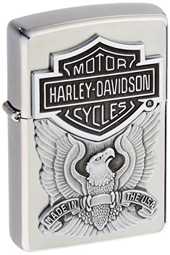 zippo Harley-Davidson Engraved Logo Lighter 1/2 - Mechero, color cromo cepillado 5