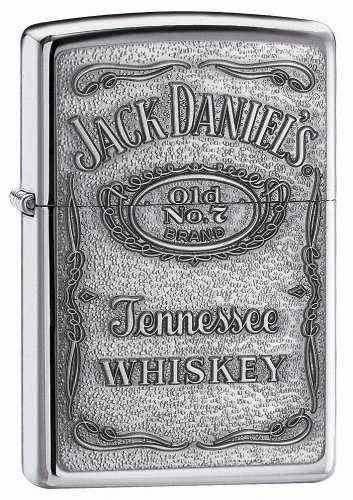 Zippo Jack Daniel's Tennessee Whiskey Emblem Pocket Lighter, High Polish Chrome 12