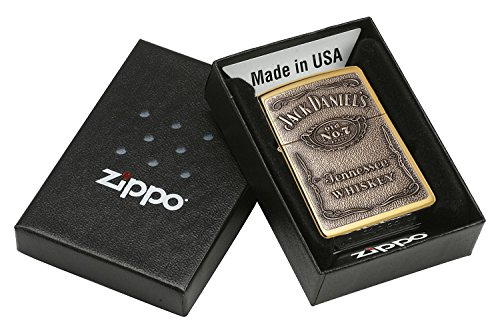 Zippo Jack Daniel's Tennessee Whiskey Emblem Pocket Lighter, High Polish Brass 1