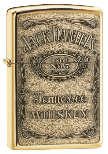 Zippo Jack Daniel's Tennessee Whiskey Emblem Pocket Lighter, High Polish Brass 13