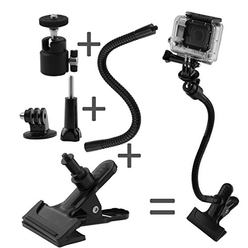 "Clamp Mount for Gopro Hero 5 Black, Session, Hero 4, Session, Black, Silver, Hero+ LCD, 3+, 3, 2, 1 and Compact Cameras - Dual Function - Includes a Clamp Mount / Ball & Socket Mount / 10""Gooseneck / Tripod Mount 1"