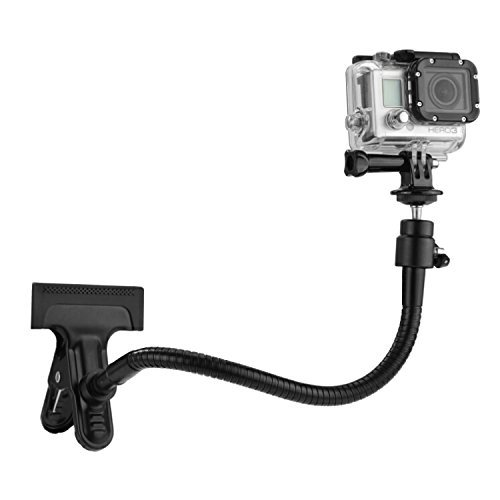 Clamp Mount for Gopro Hero 5 Black, Session, Hero 4, Session, Black, Silver, Hero+ LCD, 3+, 3, 2, 1 and Compact Cameras – Dual Function – Includes a Clamp Mount / Ball & Socket Mount / 10″Gooseneck / Tripod Mount