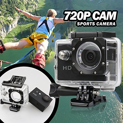 Flylink® 2.0-inch Screen Sports Action Camera Cam DV 5MP 720P HD 30M Waterproof DVR Screen Helmet Camera Sports DV Camcorder, [Importado de UK]