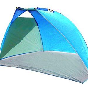 High Peak Mallorca – Tienda parasol para playa (240 x 125 x 140 cm, se monta sola), color azul