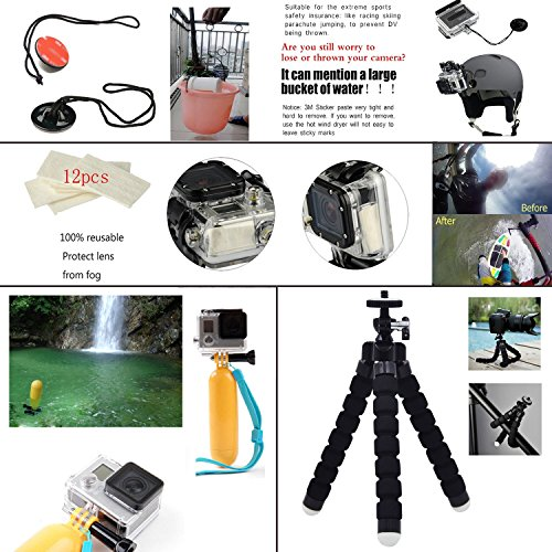 Leknes Accesorio para GoPro Hero 4 3+ 3 2 1 Black Silver Kit de Accesorios para gopro 4 3+ 3 2 1 Negro Plata SJ4000 SJ5000 SJ6000 Cámara para GoPro Hero4 Hero3+ Hero3 Hero2 1