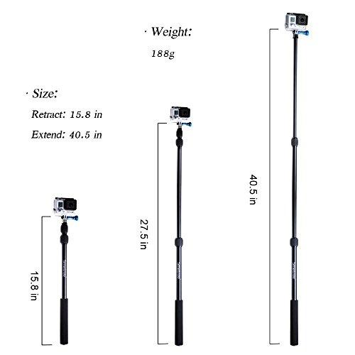 Smatree SmaPole - Monopie telescópico de aluminio (15.8 a 40.5) para cámaras GoPro Hero, Hero4 Session/Black/Silver, 3+, 3, 2, 1 HD, con tornillo de aluminio y llave 1