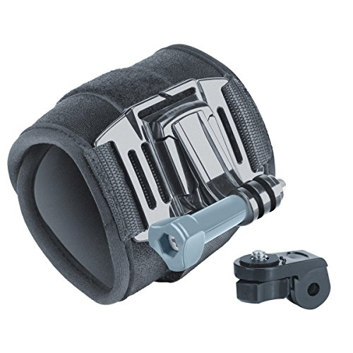 Large Wrist Strap Action Camera Mount with 2-Point Neoprene Strap , J Hook and Tripod Adapter by USA Gear – Works With GoPro Hero4 , HTC RE Camera , Ion Air Pro 3 and More